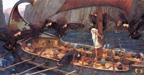 Одиссей и сирены. Картина Дж. У. Уотерхауса, 1891