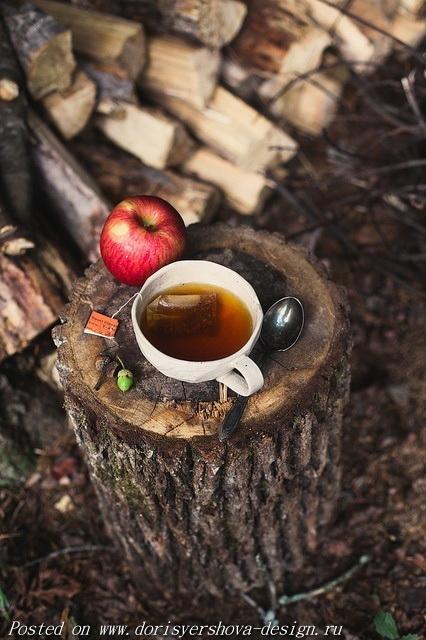 чай и яблоко на пеньке