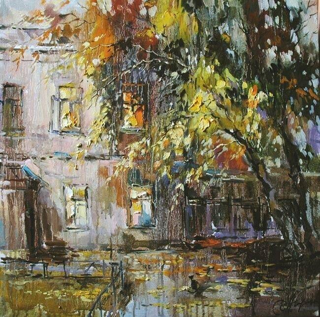 Анна Чарина. Осенний вечер. Двор в Подколокольном переулке.jpg