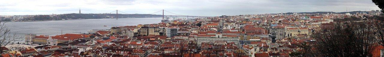 Lisbon. View from Pras de Armas of the castle of Saint George title=