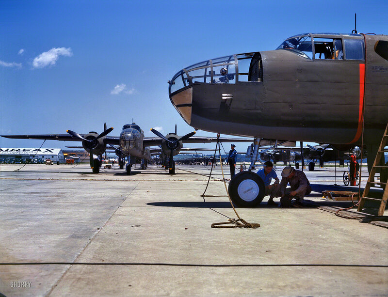 October 1942. New B-25 bombers lined up for final inspection and tests at the North American Aviation plant in Kansas City, Kansas