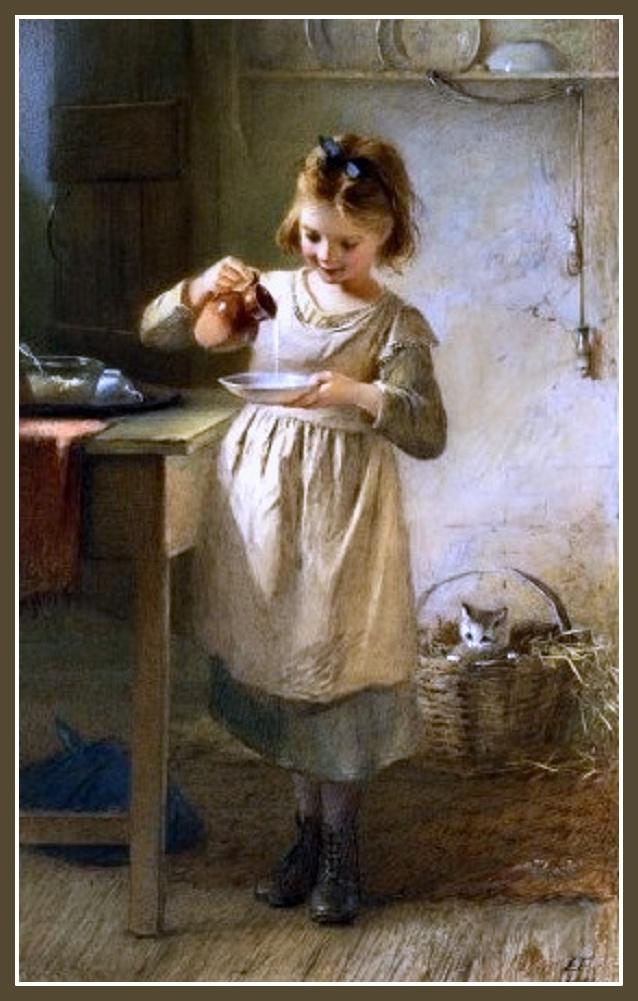 Girl with a Kitten. Emily Farmer (1826-1905)