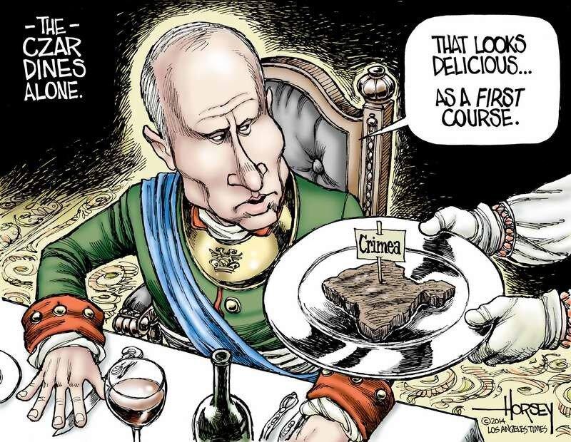 Царь обедает в одиночку: - Вот деликатес - Давайте в первую очередь (David Horsey)