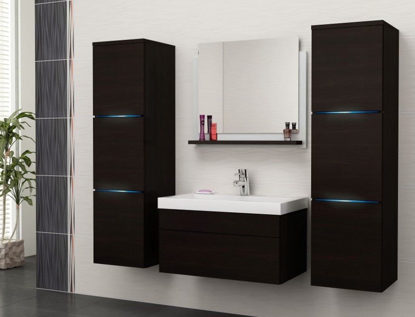 HOCHGLANZ Mit Waschbecken Spiegel LED Badezimmer Möbel LUNA | EBay