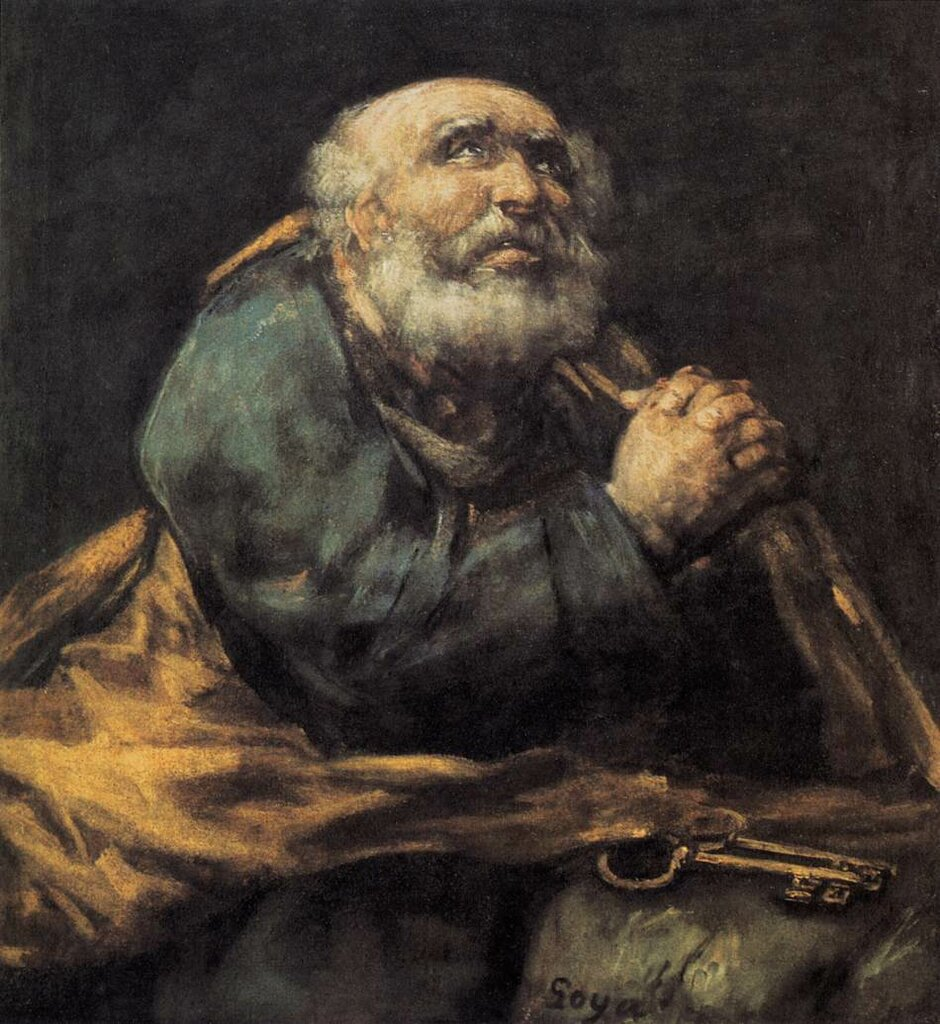 Гойя, Раскаявшийся святой Пётр, 1823-25 г.,  Goya, St Peter Repentant