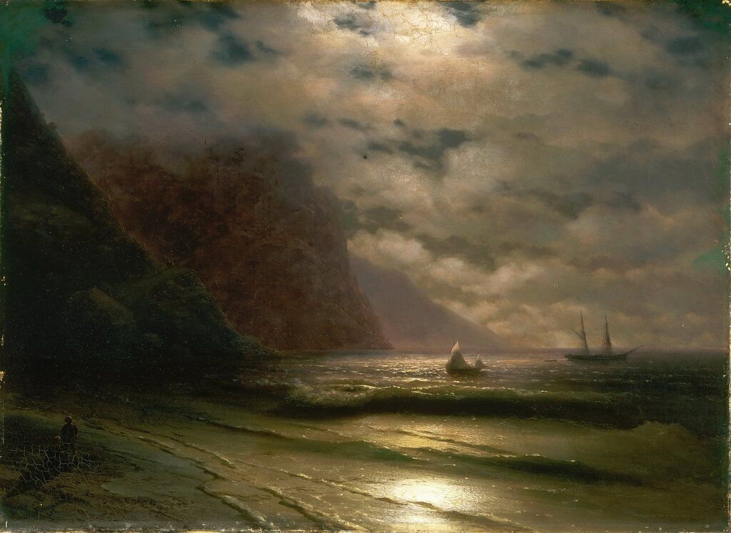 Ivan Konstantinovitsch Aivasovsky, Armenian, 1817-1900 -- Rocky Seashore