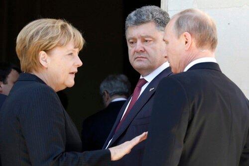 Меркель, Порошенко, Путин. Нормандия 6 июня 2014