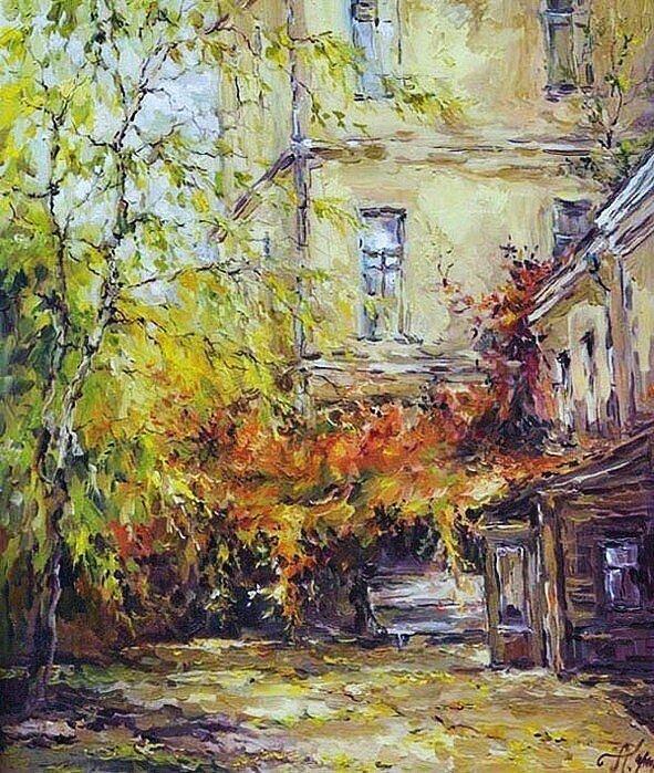 Анна Чарина. Осенний плющ. Двор в Раушском переулке.jpg