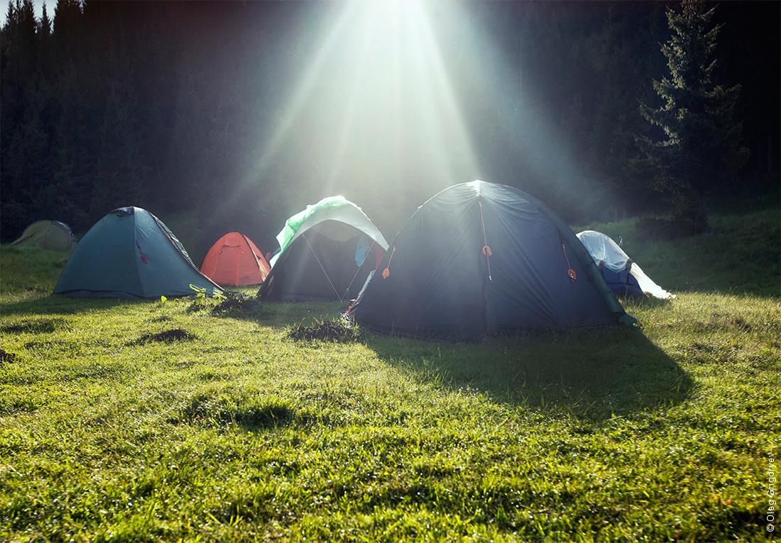 утро в палатках