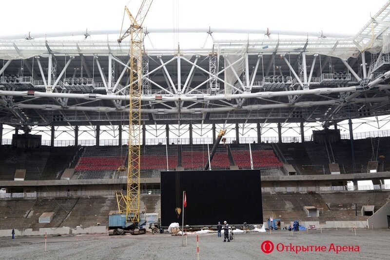 На стадионе «Спартака» - «Открытие Арена» завершен монтаж светодиодного видеоэкрана (Фото)