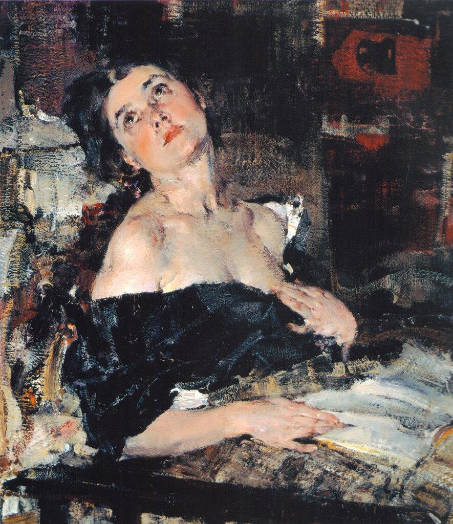 Дама в черном (Портрет А.Н.Фешиной) (1924).jpg