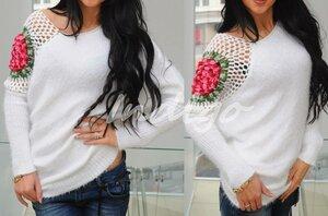 Розочка на сетке - пуловер для кокетки
