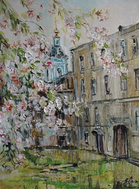 Анна Чарина. Вишни цветут. Двор в Серебряническом переулке.jpg