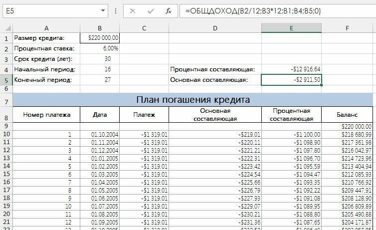 Как использовать в Excel функции ОБЩДОХОД и ОБЩПЛАТ для расчета заданной серии платежей