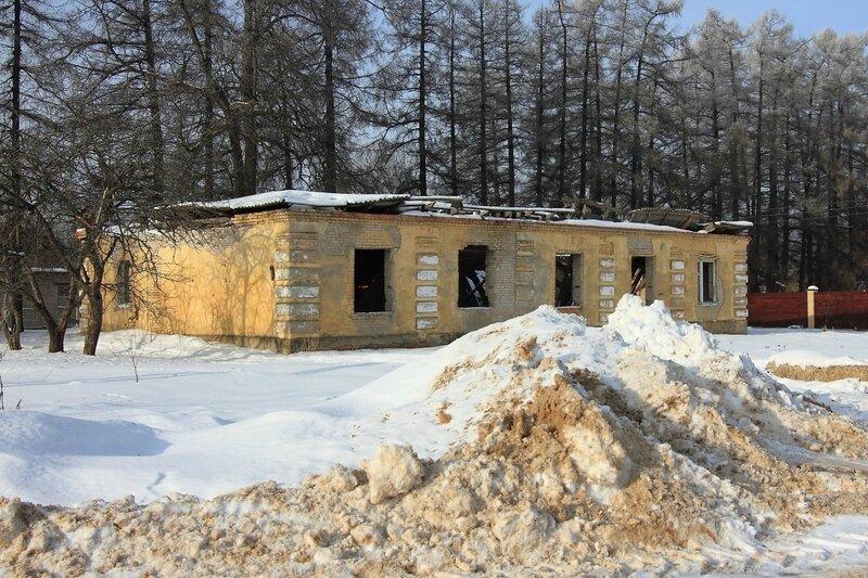 Заброшенное здание и Лиственничная аллея за ним