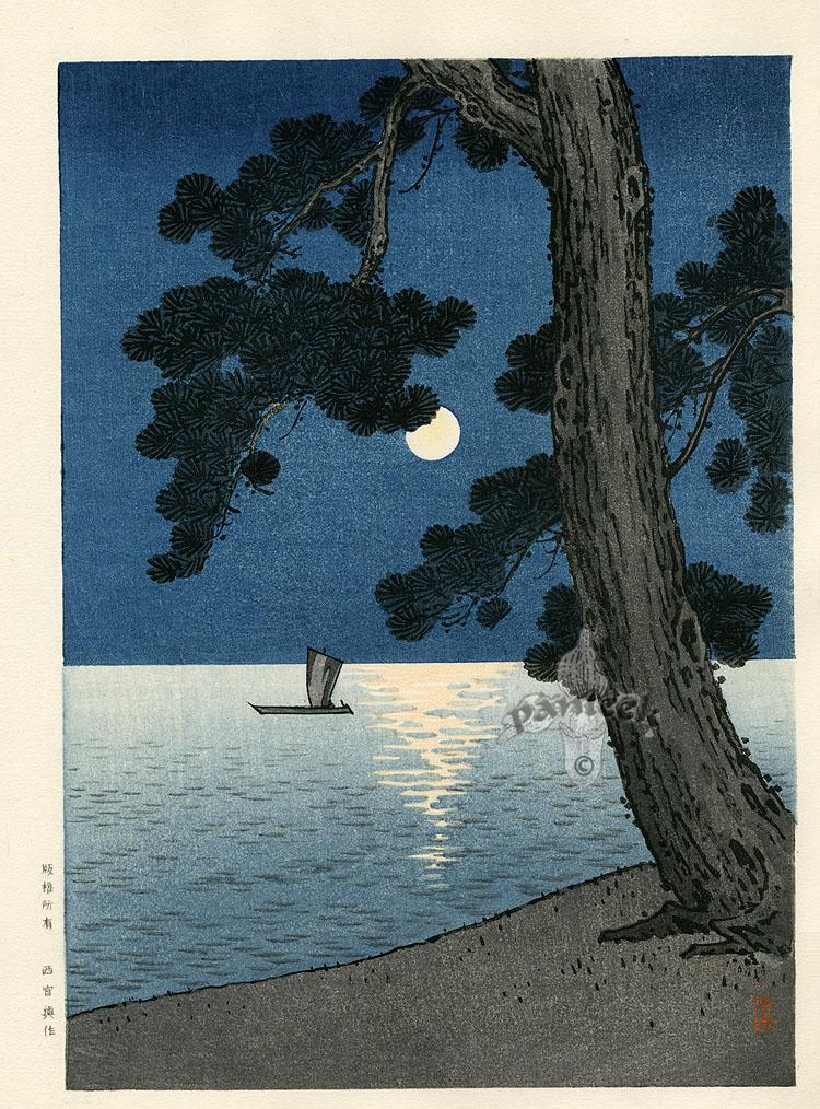 Hasui залитые лунным светом ксилографии