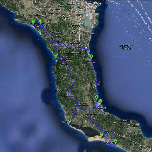 Автомобильный маршрут одного дня (Корфу)