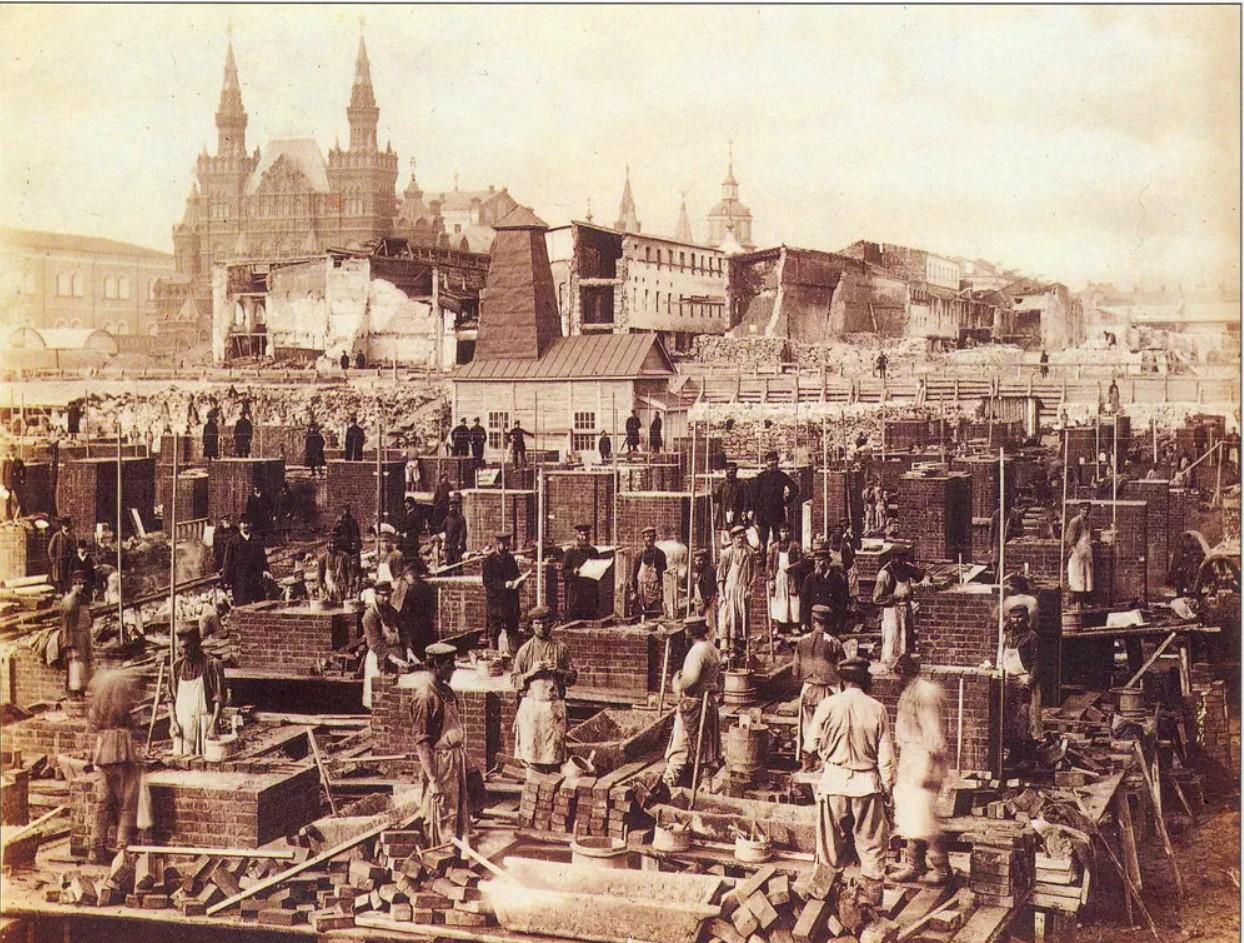 Строительство новых Торговых рядов на Красной площади. 1890