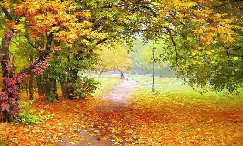 Осенний парк - живопись - художник Олег Щербаков.jpg
