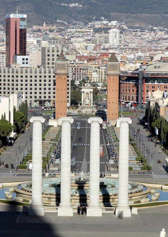 Барселона. Вид от Национального дворца (Miradoro del Palau Nacional)
