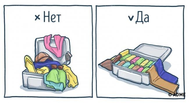 Вдоль стенок чемодана укладываем обувь, затем кладем вовсю длину надно длинные вещи, например брюк
