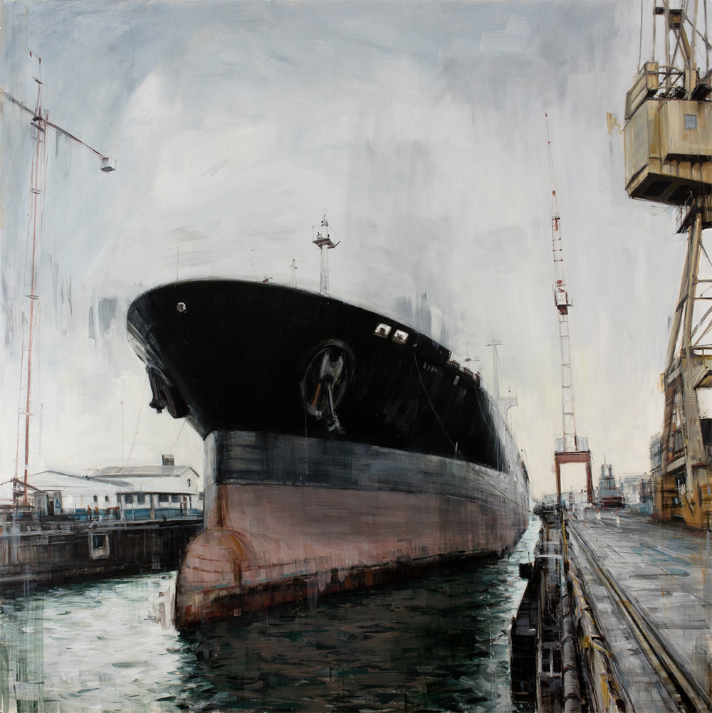 Shipyard , 2015, oil on panel, 48x48in.