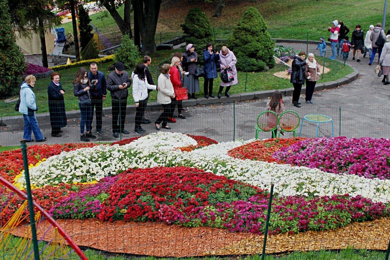 Посетители осенней выставки цветов на Певческом поле