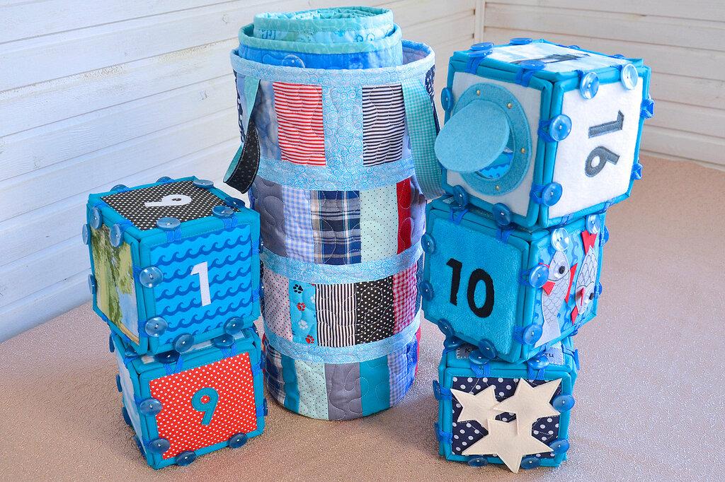 морские кубики текстильный набор покрывало торба (3).JPG