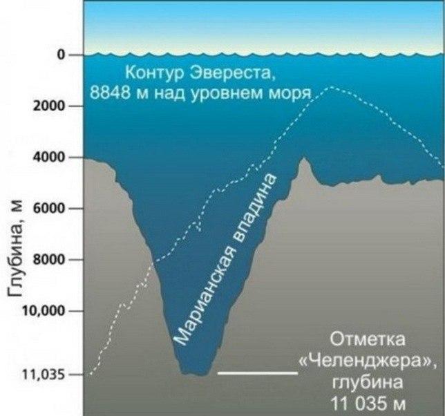 Глубины Марианской впадины.