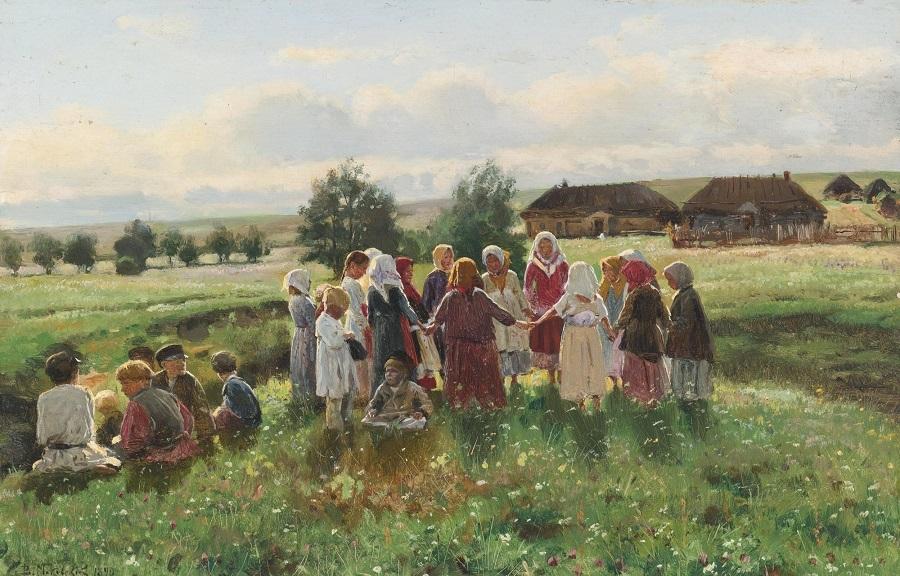 CHILDREN AT PLAY , 1890.