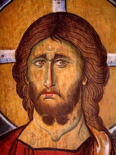 Христос Антифонитис (Отзывающийся). Фреска церкви Панагии Аракиотиссы в селе Лагудера, Кипр. 1192 год. Лик.