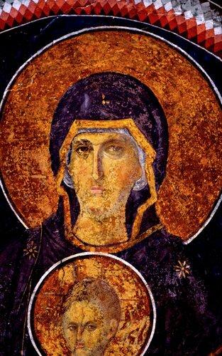 Пресвятая Богородица с Младенцем. Фреска церкви монастыря Хора в Константинополе. 1315 - 1321 годы.