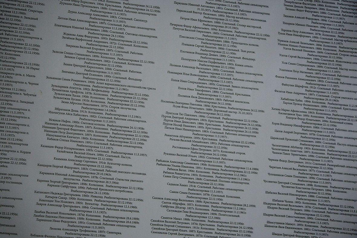 Список 2500 заключенных, расстрелянных в период сталинских репрессий.