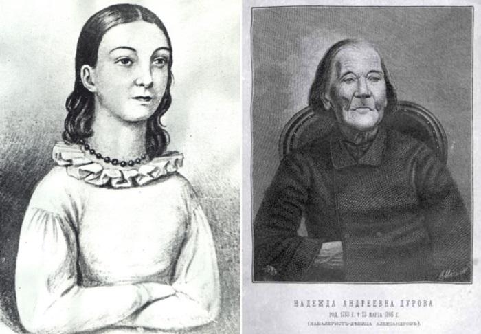Надежда Дурова в возрасте 14 лет и в зрелые годы | Фото: topwar.ru В 1816 г. Надежда Дурова в