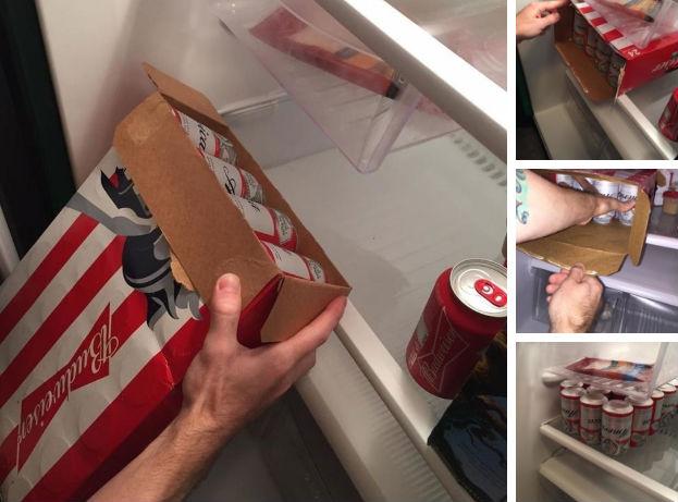 Знаете, как можно загрузить целую коробку банок в холодильник? Откройте коробку с двух сторон, подне