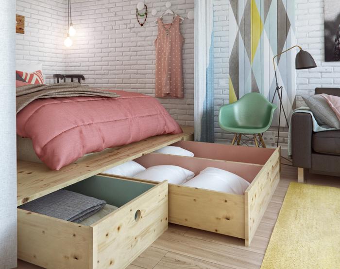 Необычная спальная зона в квартире. Кровать, стоящая на подиуме – рациональное решение для неб
