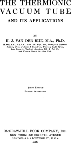The Thermionic Vacuum Tube - H. J. van der Bijl - Book Cover