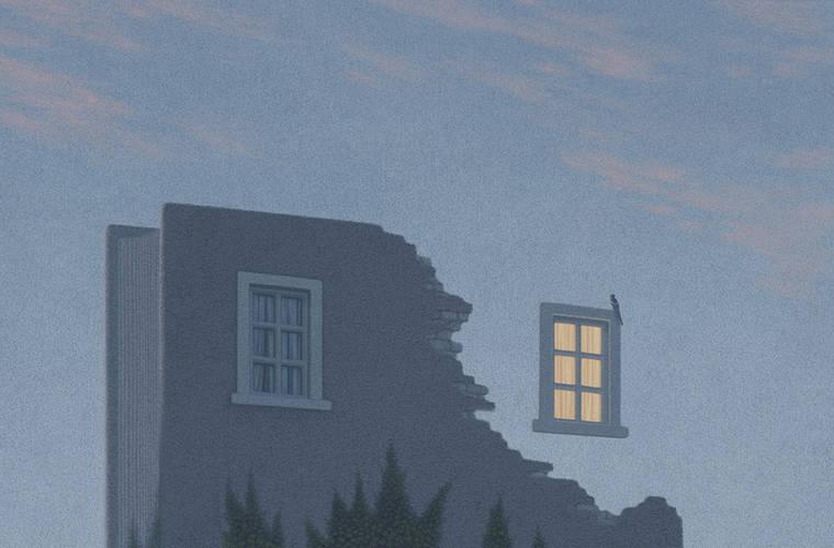 Promenade - De superbes illustrations surrealistes en hommage aux livres