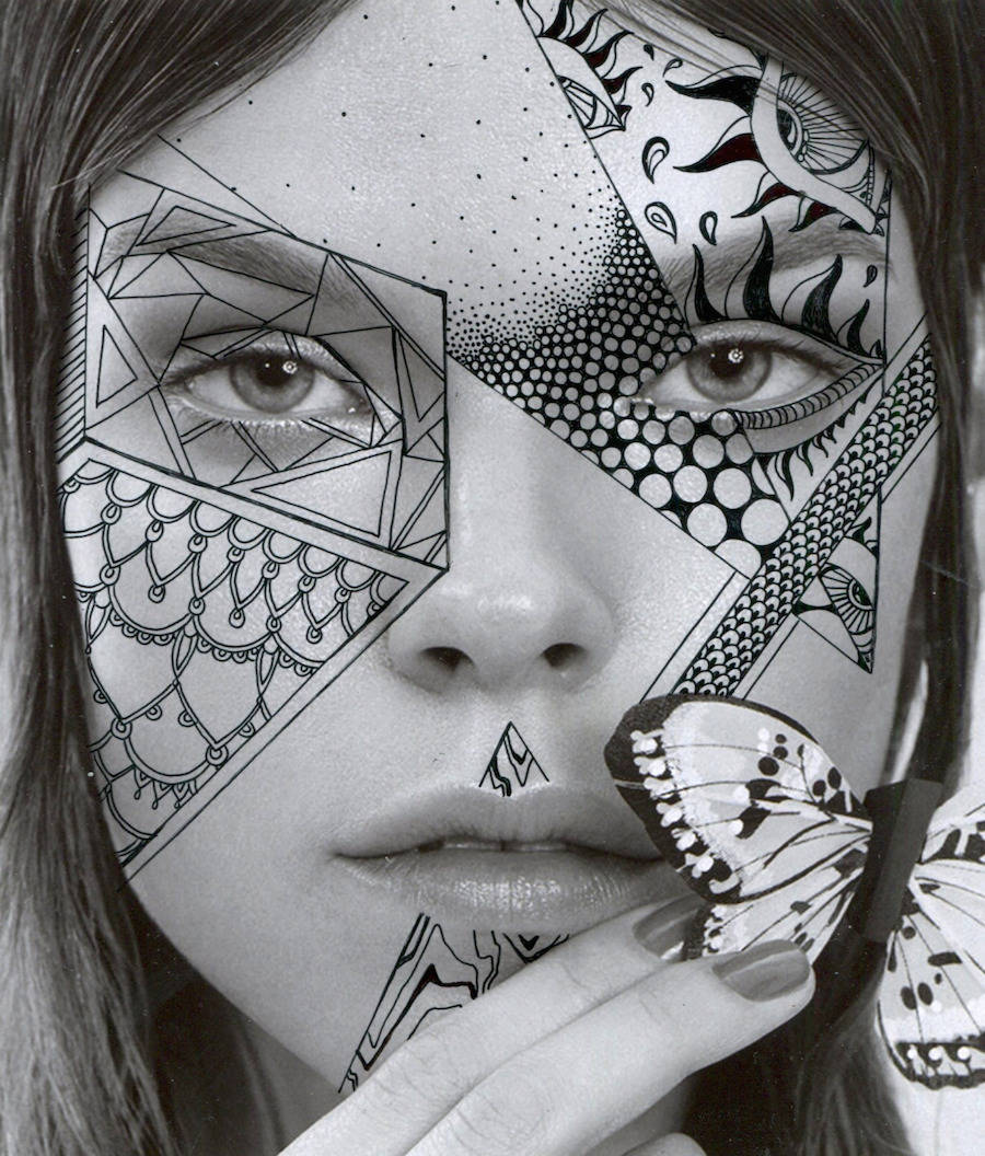 Portraits with Black Psychedelic Patterns by Alana Dee Haynes