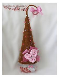сувениры, ручная работа, рукоделки василисы, handmade, handwork, елочка своими руками, интерьерная композиция, новый год, оригинальные подарки, розы из атласных лент, праздник