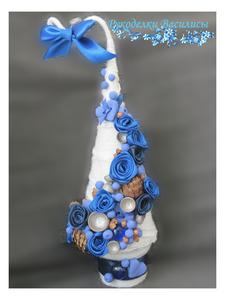 цветы из атласных лент, творчество, сувениры, ручная работа, рукоделки василисы, розы из атласных лент, handmade, handwork, интерьерная композиция, новый год, оригинальные подарки, подарки, елочка