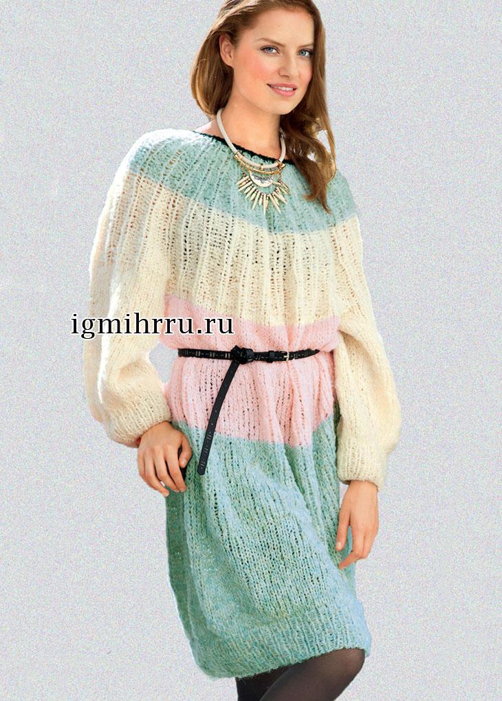 Платье с широкими цветными полосами и круглой кокеткой. Вязание спицами