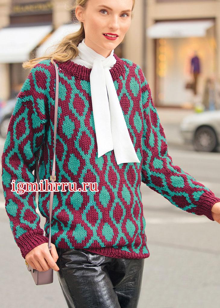 Жаккардовый джемпер с двухцветным узором «Ромбы». Вязание спицами
