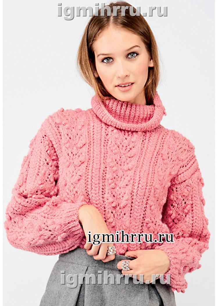 Розовый свитер с миксом узоров. Вязание спицами