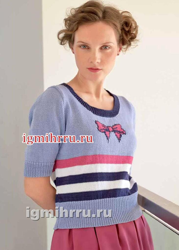 Пуловер с полосками и мотивом Бантик. Вязание спицами
