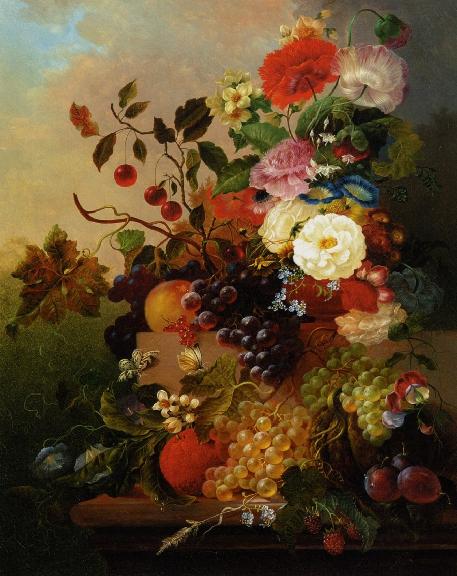 Poppies-Peonies-Roses-and-other-Flowers-with-Grapes-on-a-Marble-Ledge-by-Jan-Van-Der-Waarden.