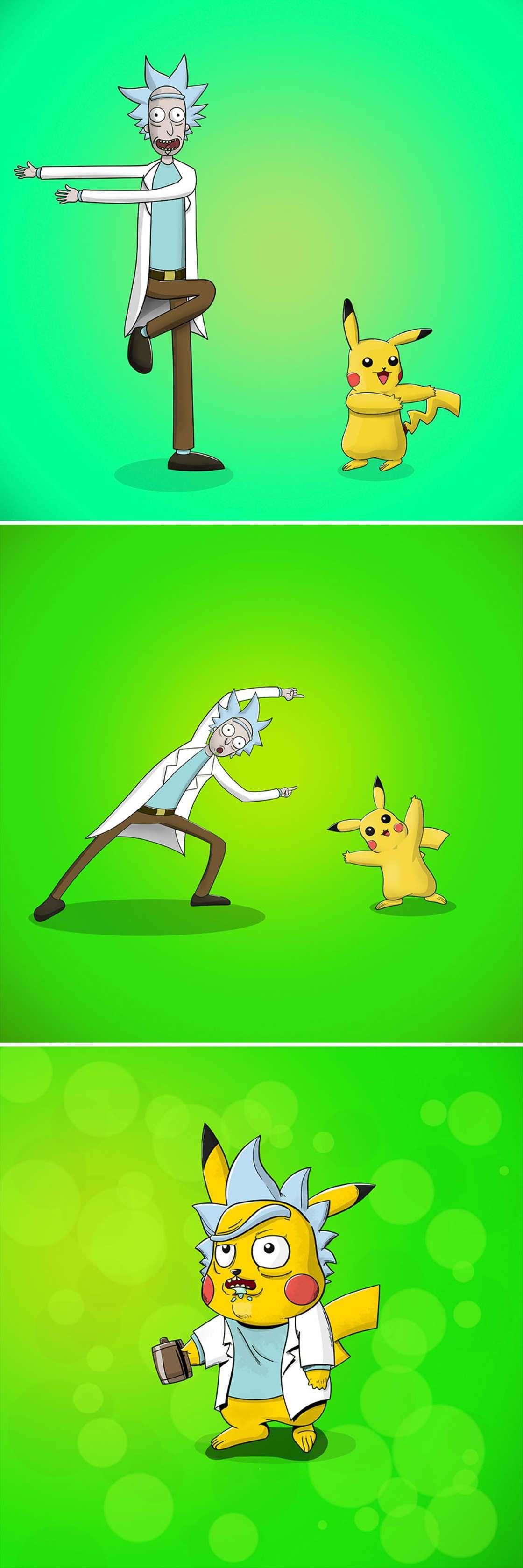 Os personagens de desenhos animados se fundiram como no Dragon Ball Z