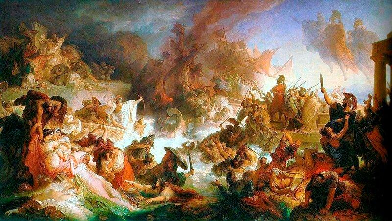 Картина Каульбаха «Битва при Саламине» Kaulbach, Wilhelm von Die Seeschlacht bei Salamis 1868 .JPG
