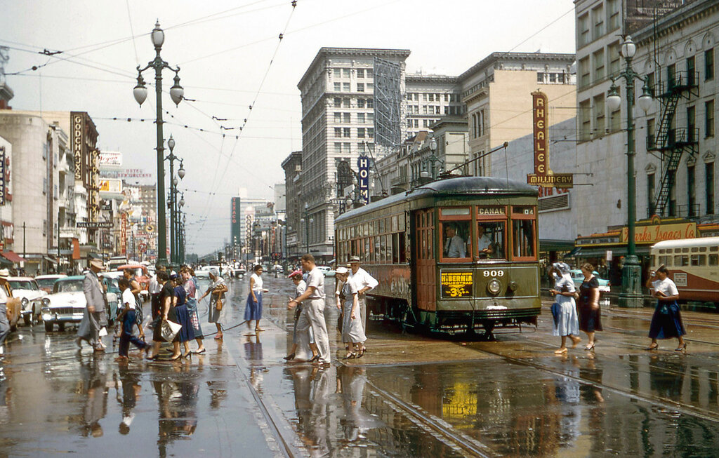 June 15, 1957, New Orleans, Canal Street at St. Charles.