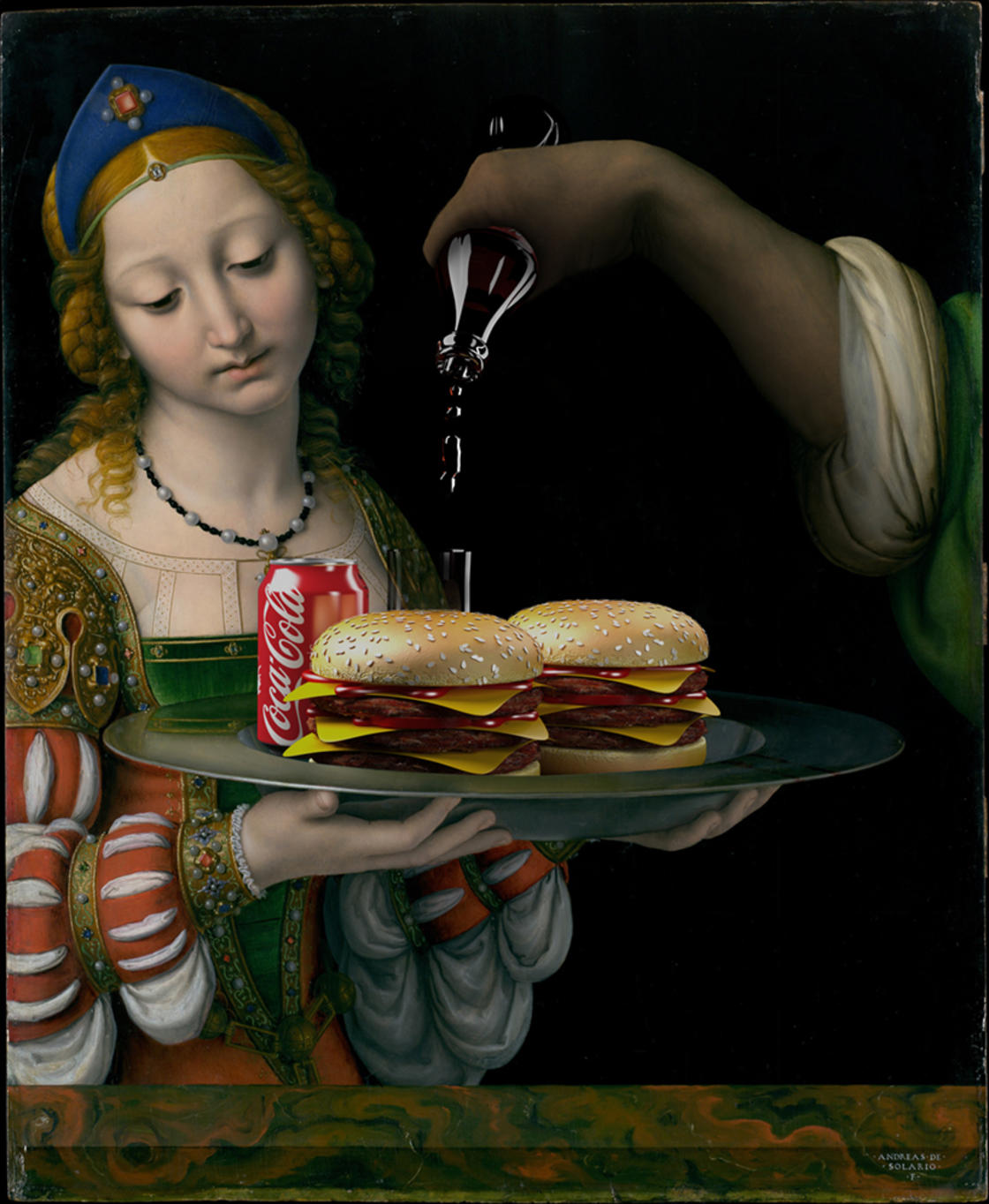 This guy offers piles of burgers to the masterpieces of painting